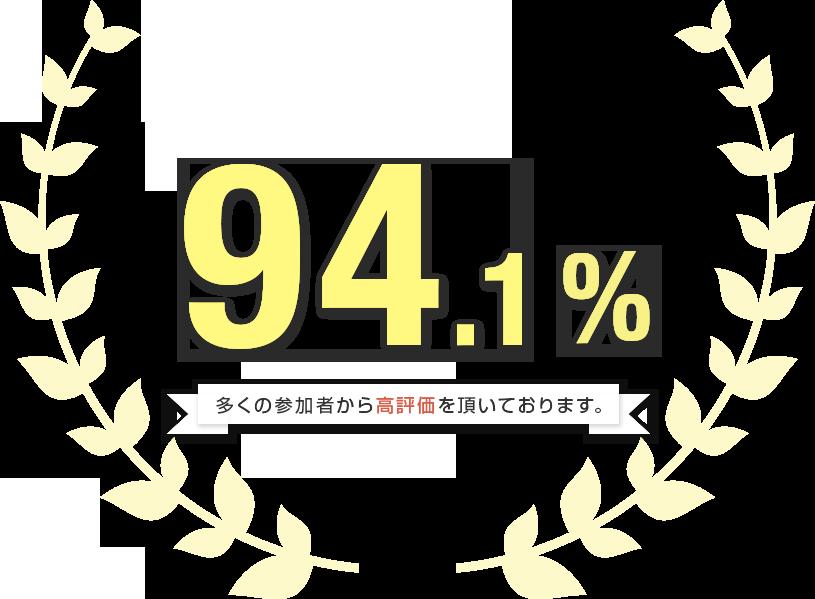満足度94.1% 多くの参加者から高評価を頂いております。